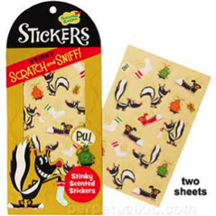 Scratch and sniff stinky scented stickers