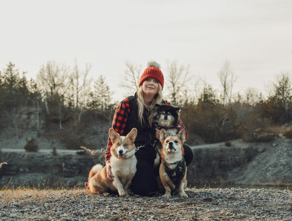 Rebecca Asselin with three dogs
