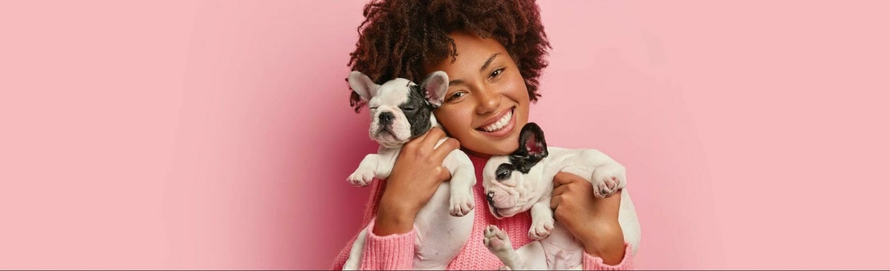 Woman holding two puppies against a pink background